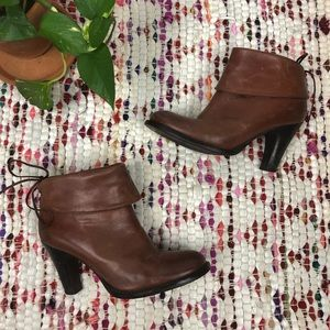 Bronx Brown Leather Foldover Cuff Ankle Boots